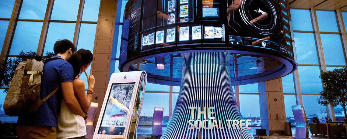 Árbol social en Changi el aeropuerto del futuro