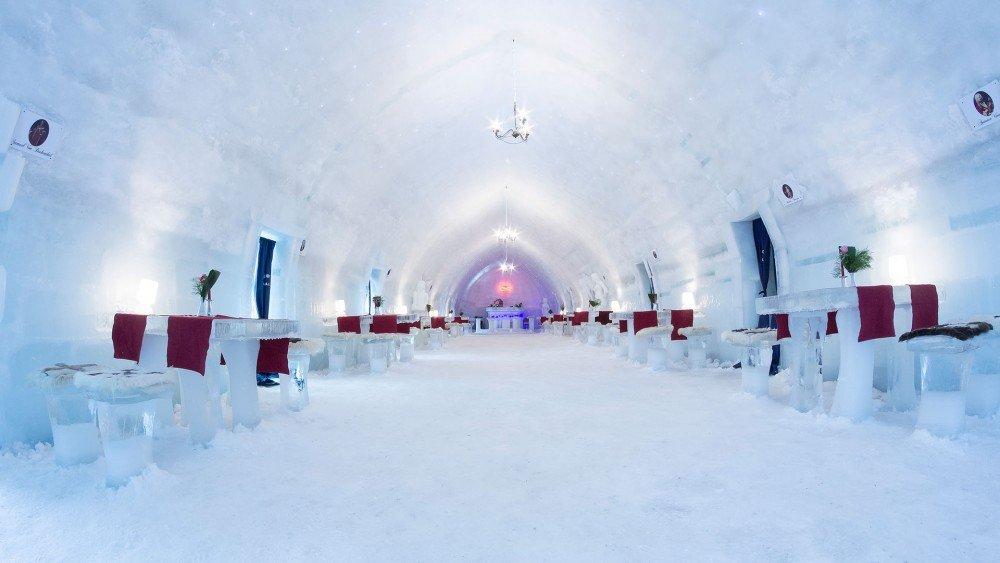 hotel helado en Lago Balea